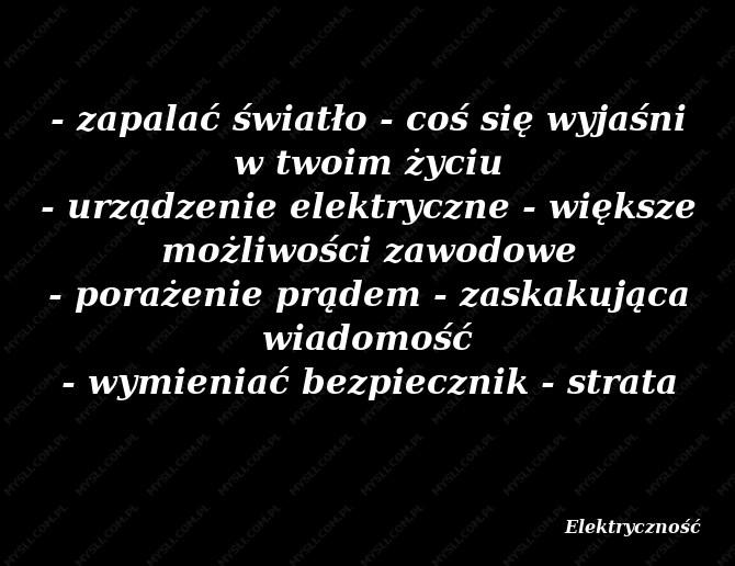 Znaczenie Elektryczność Sennik Myslicompl
