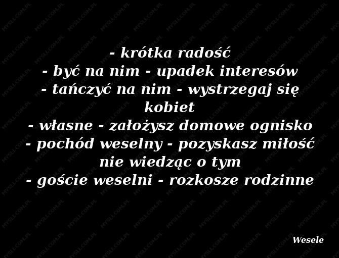 Znaczenie Wesele Sennik Myslicompl